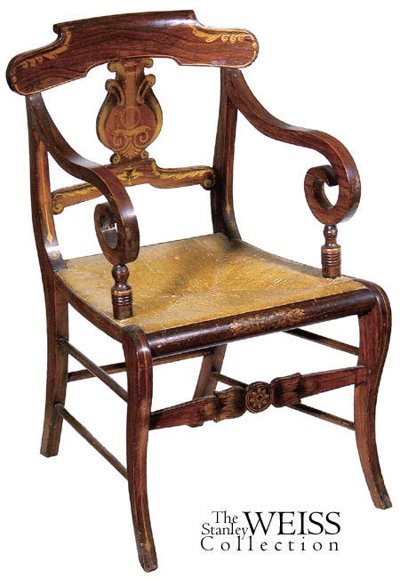 This set of fancy chairs is finely developed throughout with beautiful gilt stenciling contrasting with strongly figured rosewood. The crest rail, seat rail and anterior stretcher are embellished with foliate motifs and the lyre-form backsplat is