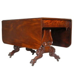 Classical Mahogany, Drop-Leaf Table with Lyre Supports