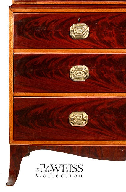 19th Century Inlaid Mahogany and Satinwood Hepplewhite Linen Press For Sale
