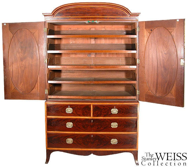 Inlaid Mahogany and Satinwood Hepplewhite Linen Press For Sale 1