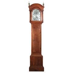 Cherry Queen Anne Tall Case Clock with Silver Dial, RI