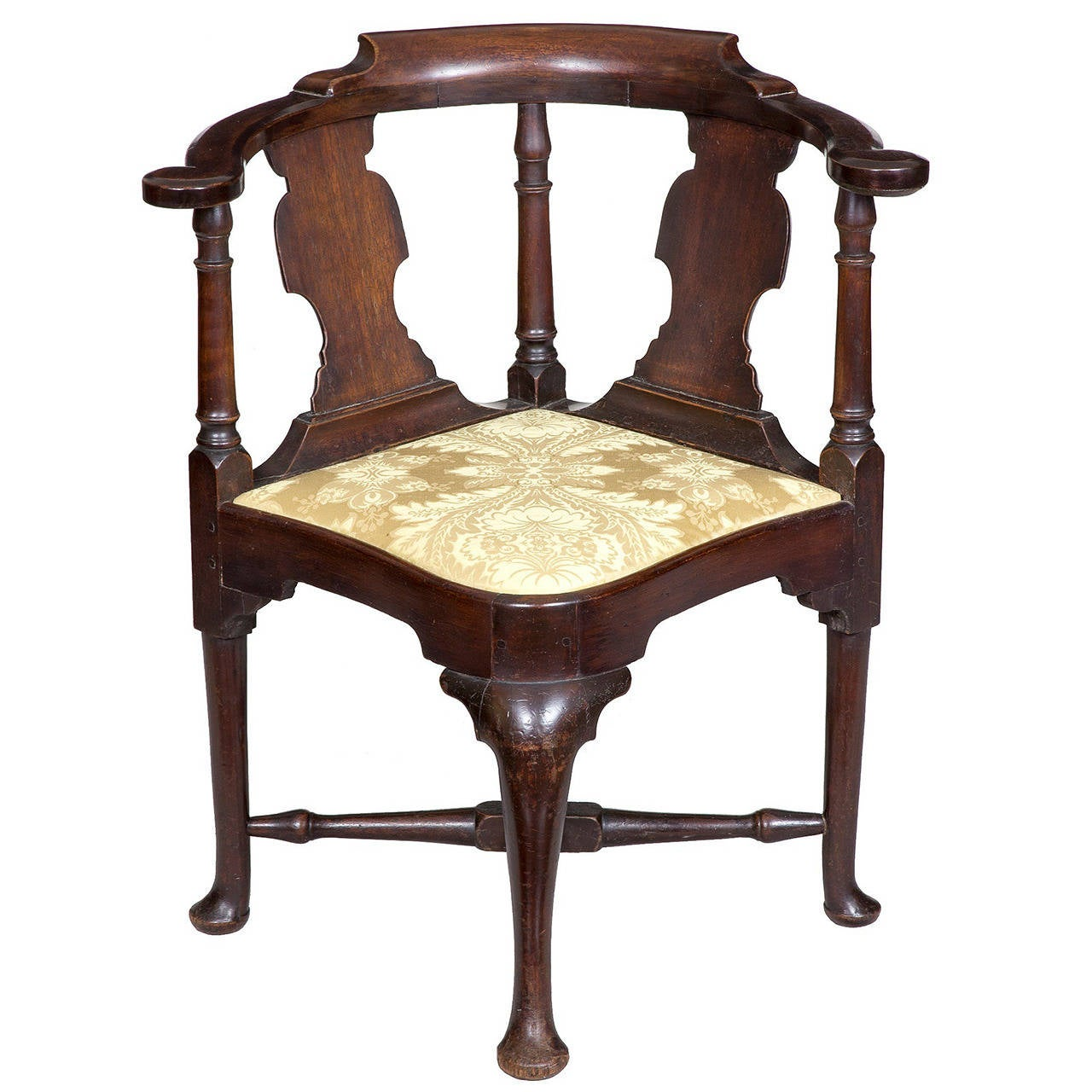 Mahogany queen anne corner chair with horseshoe seat for Queen anne furniture