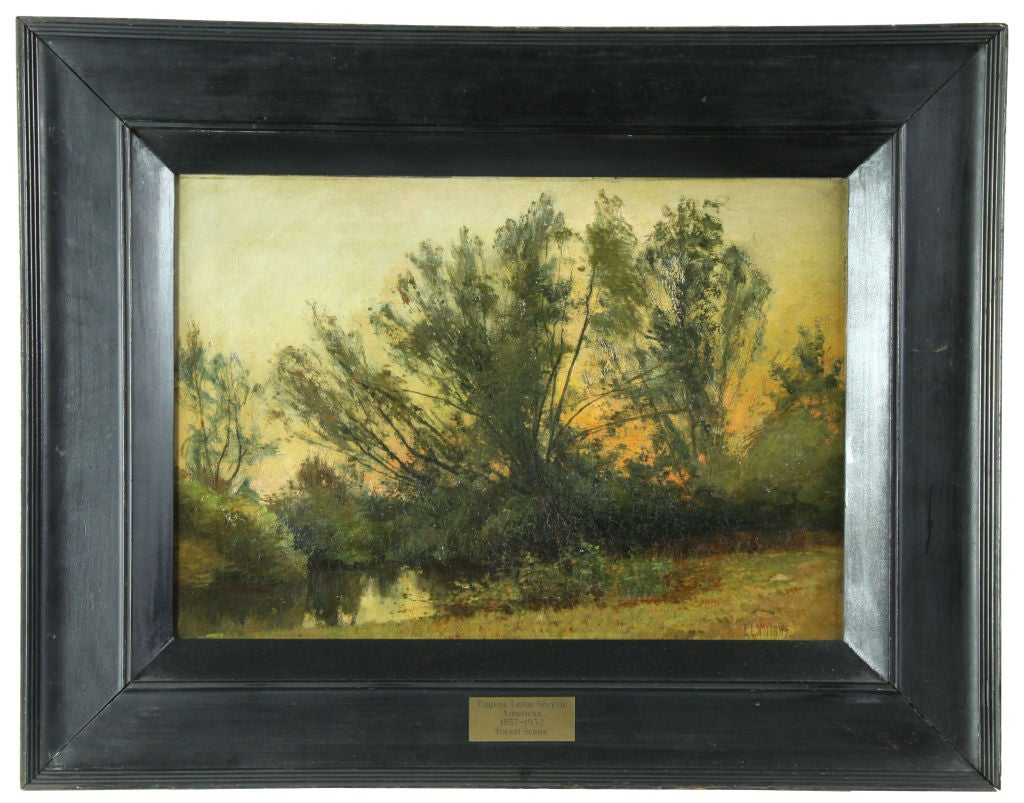 Landscape painting: Forest scene, Eugene Leslie Smyth, 1857-1932   Leslie Smyth was born in Townsend, Vermont, lived in Providence and exhibited Brooklyn Art Association and Boston Art Club 1884-1888. Smyth was a member of the Providence Art Club
