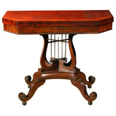 Classical Mahogany Crossed-Lyre Card Table, Philadelphia