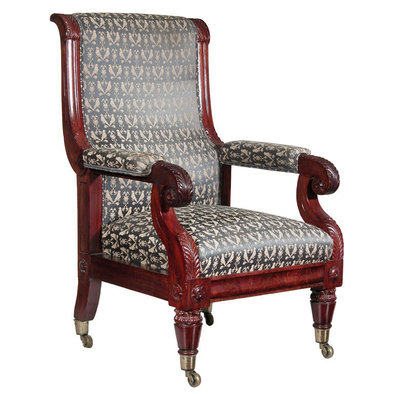 Mahogany Neoclassical Open Armchair, Boston