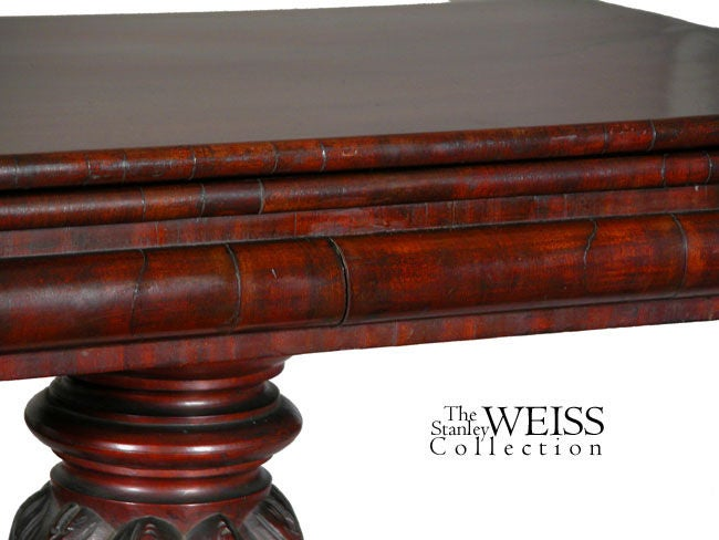 American Carved Mahogany Classical Card Table, Probably New York, circa 1820 For Sale