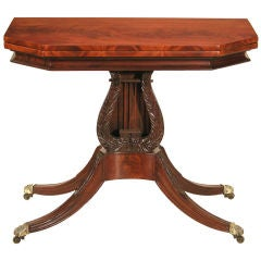 Carved Mahogany Lyre Card Table, circa 1810, Haines/Connelly School