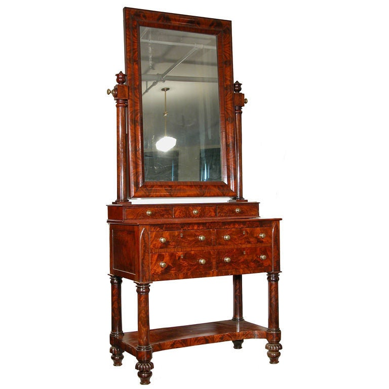 Monumental Mahogany Classical Dressing Mirror with Gothic Panels, Ny, circa 1840 For Sale