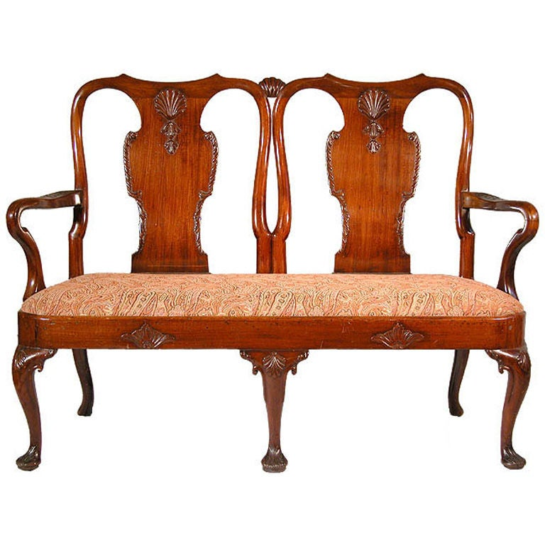 Carved Mahogany Queen Anne Settee