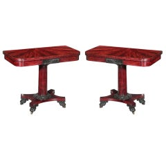 Pair of Classical Card Tables with Radiating Mahogany Top, Philadelphia