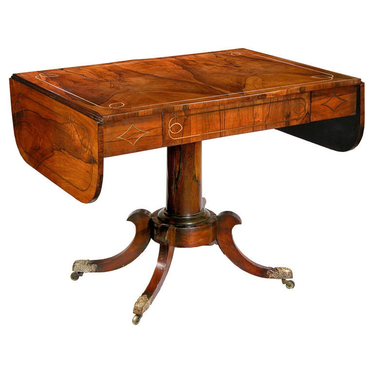 Regency rosewood and brass inlaid sofa table for sale at for Sofa central table