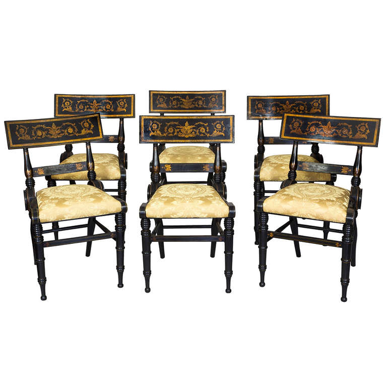 set of six ebonized and gilt baltimore painted chairs