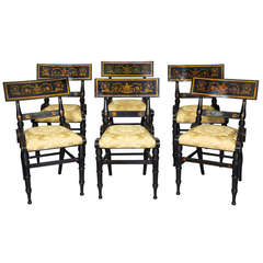 Set of Six Ebonized and Gilt Baltimore Painted Chairs, circa 1825
