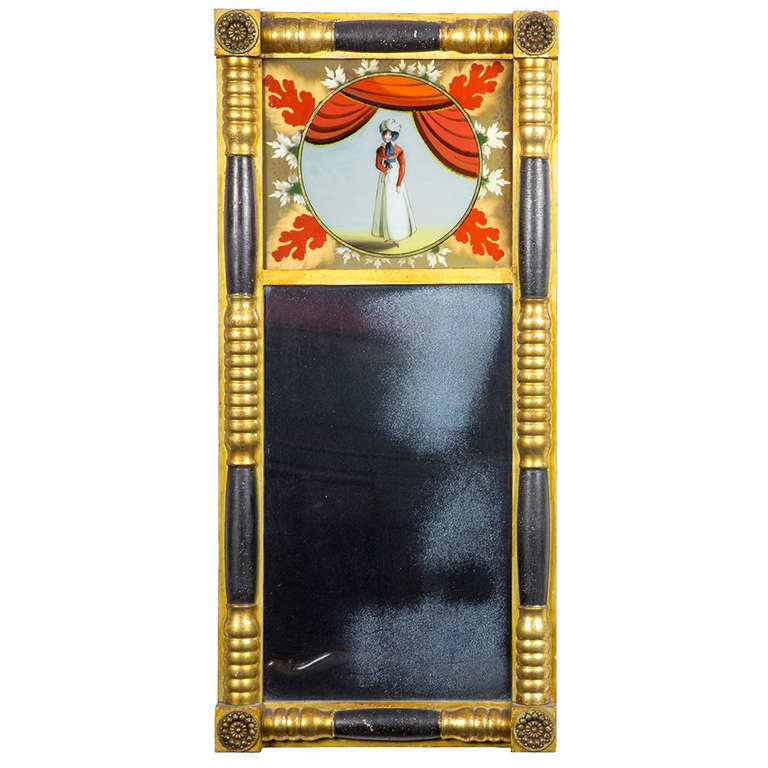 Fine Classical Mirror With Reverse Painting Massachusetts