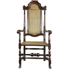 Caned Beechwood William and Mary Armchair with Scrolled Arms and Spanish Feet