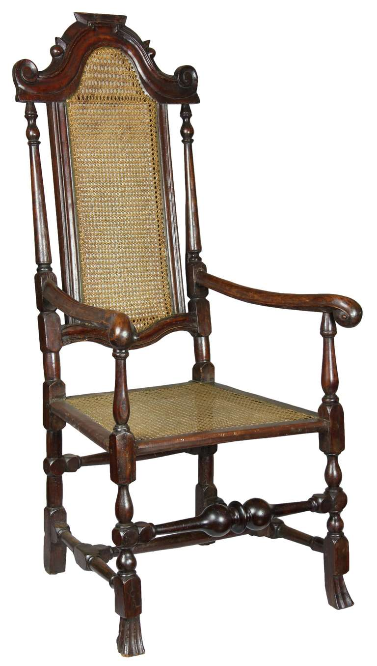 Caned Beechwood William And Mary Armchair With Scrolled
