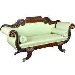Classical Mahogany Settee, Brass Inlay, Dolphin Feet, Philadelphia, 1825