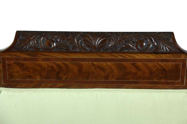 American Classical Classical Mahogany Settee, Brass Inlay, Dolphin Feet, Philadelphia, 1825 For Sale