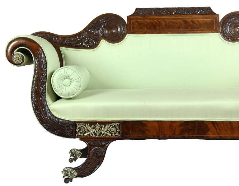 American Classical Mahogany Settee, Brass Inlay, Dolphin Feet, Philadelphia, 1825 For Sale