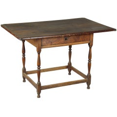 A Turned Maple and Pine Tavern Table, New England, mid 18th century
