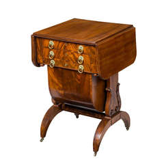 Classical Mahogany Work Table with Carved Lyre Supports, Boston, circa 1820