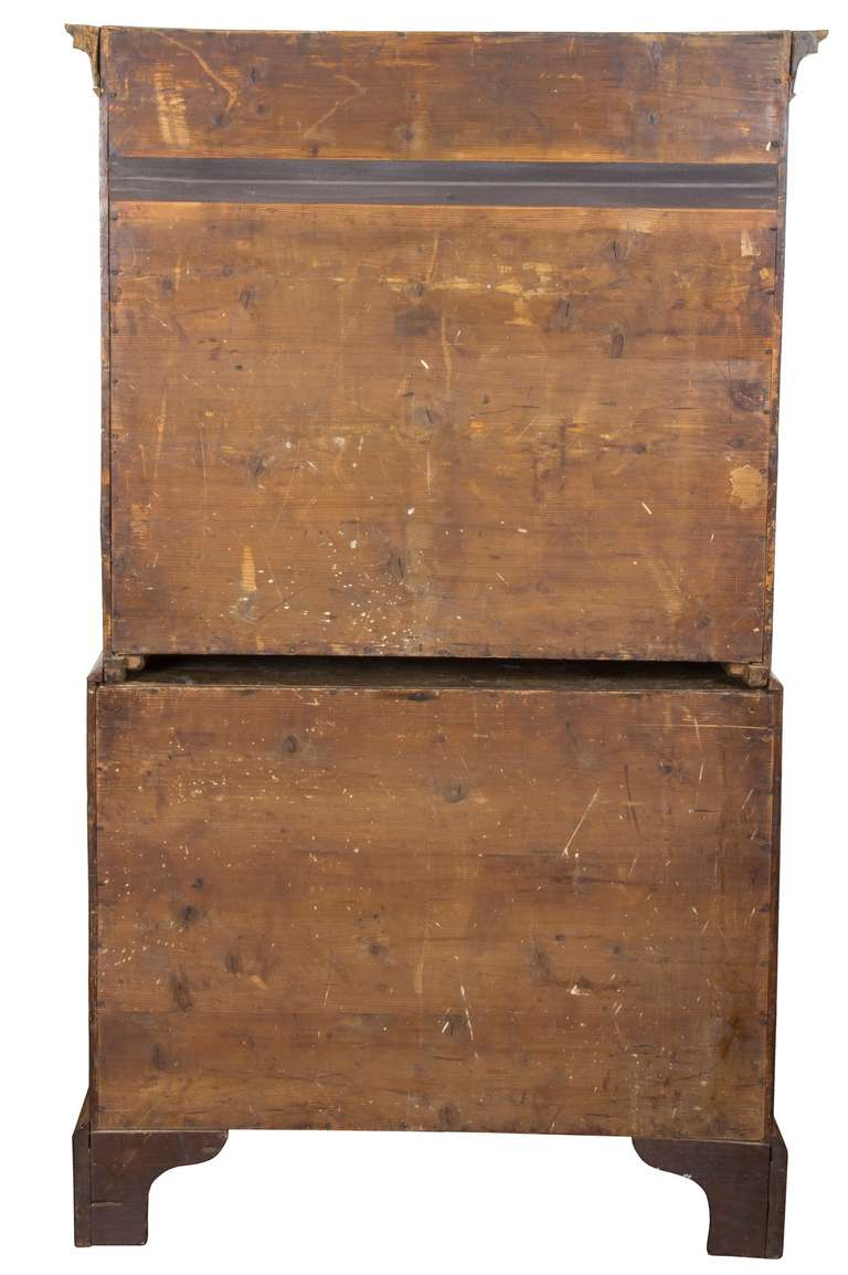 George II Inlaid Burled Walnut Chest-on-Chest Original Brasses, England For Sale 2