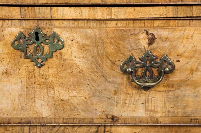 George II Inlaid Burled Walnut Chest-on-Chest Original Brasses, England For Sale 1