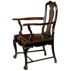 China Trade Queen Anne Style Teak Wood Armchair, circa 1890