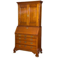 Carved Cherry Chippendale Desk and Bookcase, CT, circa 1780