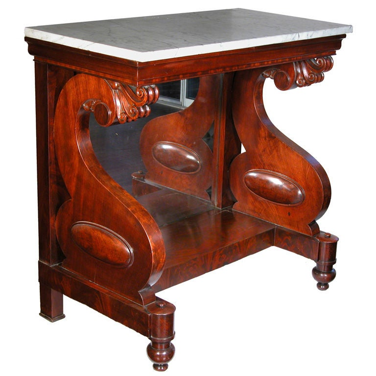 Classical Marble-Top Mahogany Pier Table, Possibly Philadelphia