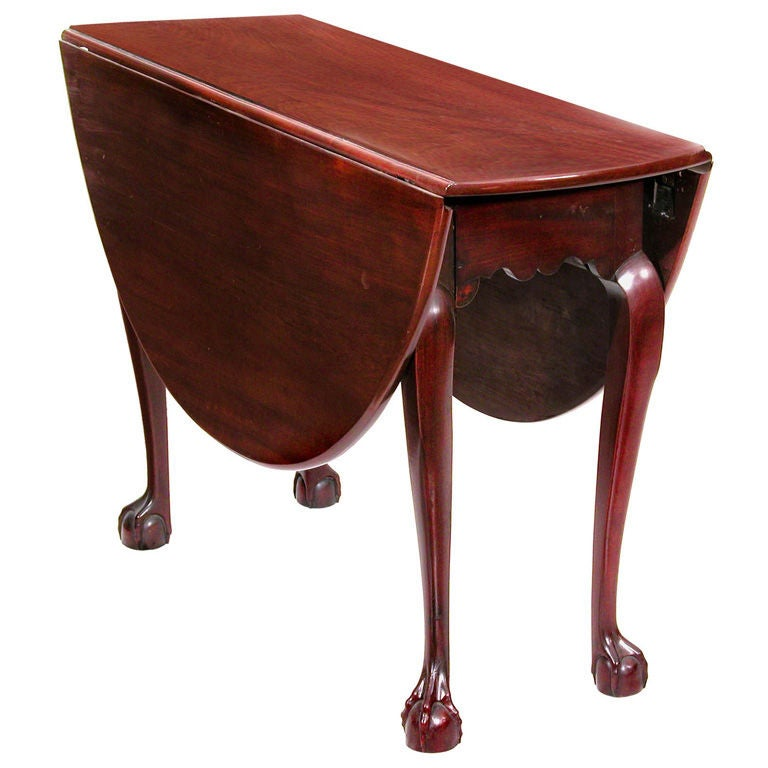 Great Chippendale Mahogany Oval, Drop Leaf Table 1