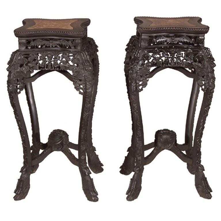 Pair of Ebonized Hardwood Chinese Export Stands with Marble Insets