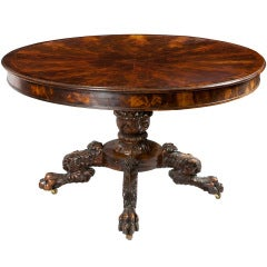 Mahogany Neoclassical Center Table, Pineapple Base and Segmented Top, NY
