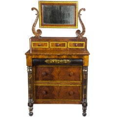 Classical Mahogany Bureau with Gilt Stenciling Attributed to Haines and Holmes
