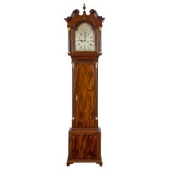 Mahogany Chippendale Clock with Silvered Face by James Jacks, New York