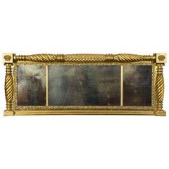 Magnificent Gilt Classical Overmantel Mirror with Original Glass