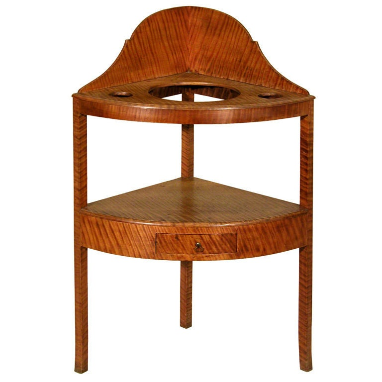 Tiger Maple Corner Washstand, New England