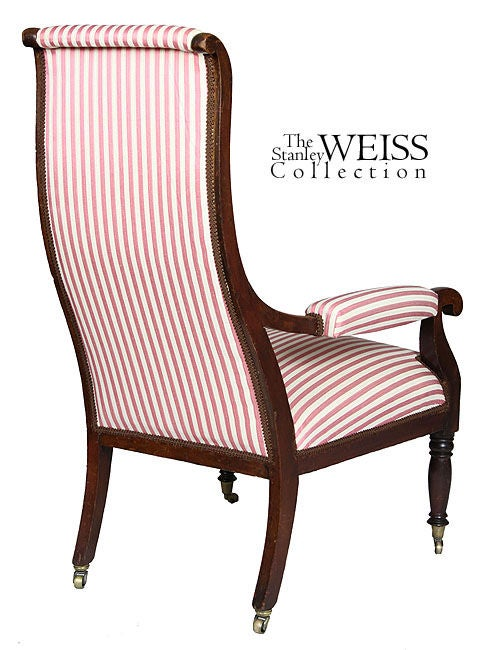 American Mahogany Sheraton or Federal Upholstered Open Armchair, New England, circa 1810 For Sale