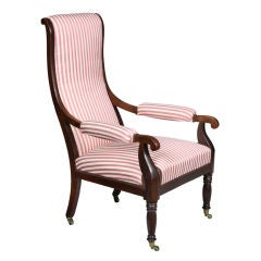 Mahogany Sheraton or Federal Upholstered Open Armchair, New England, circa 1810