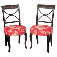 Pair of Classical Carved Mahogany Side Chairs, New York