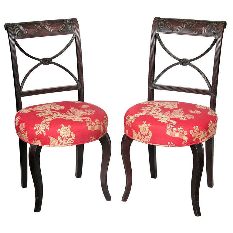 Pair of Classical Carved Mahogany Side Chairs, New York For Sale