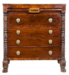 Classical Mahogany Bureau with Brass Inlay, Labeled Carter, New York, circa 1830