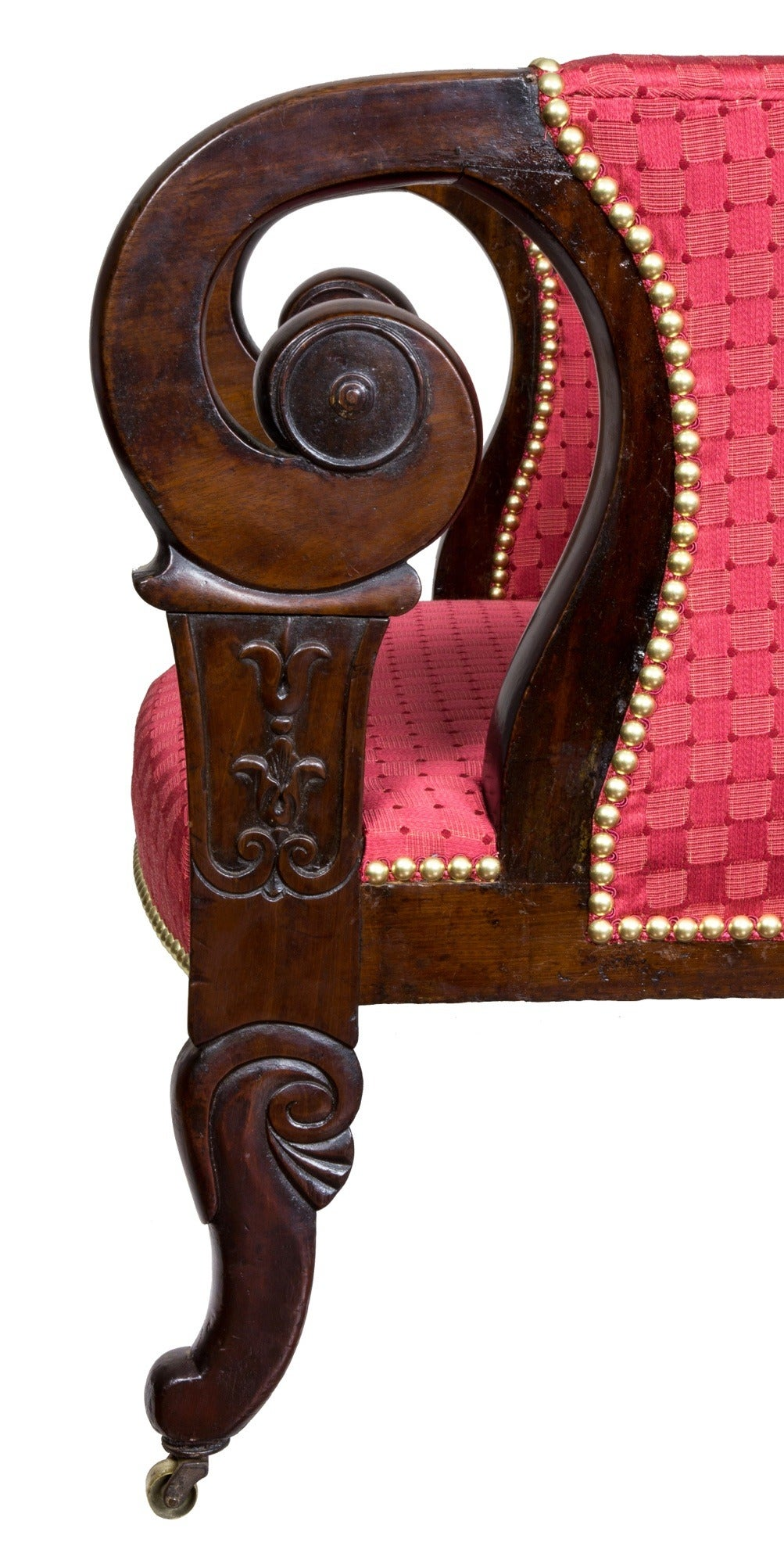Rare Carved Mahogany Upholstered Classical Armchair, Possibly Southern In Excellent Condition For Sale In Providence, RI