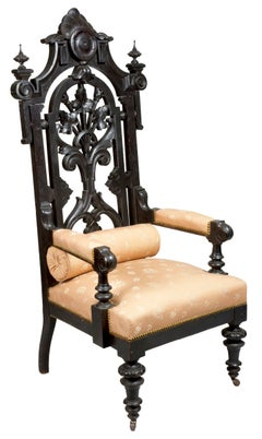 Monumental Ebonized Rococo Revival Baltimore Armchair, circa 1860