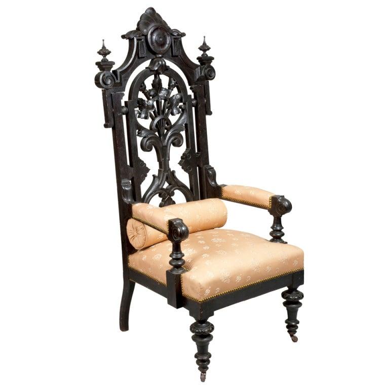 Monumental Ebonized Rococo Revival Baltimore Armchair, circa 1860