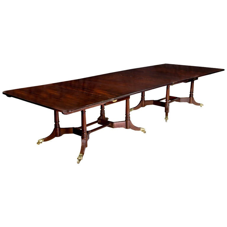 Banquet Dining Table: Large Regency Mahogany Two-Part Banquet Table, England