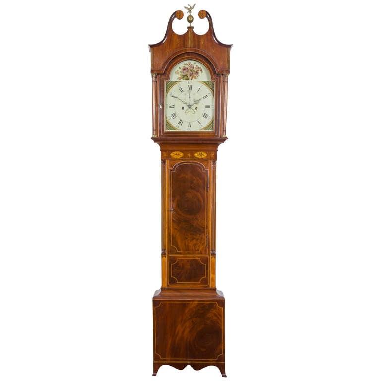 Federal Inlaid Mahogany Tall Clock, Attributed to Jacob Taylor, NY/NJ circa 1810