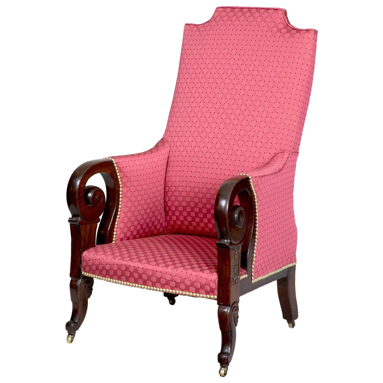 Rare Carved Mahogany Upholstered Classical Armchair, Possibly Southern For Sale