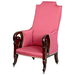 Rare Carved Mahogany Upholstered Classical Armchair, Possibly Southern