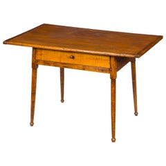 Maple Tavern Table Overhanging Rectangular Breadboard Top and Drawer, circa 1780